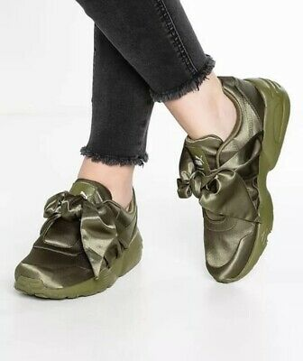 huge discount 2a85d ef215 $160 PUMA FENTY by RIHANNA OLIVE GREEN SATIN BOW SNEAKERS SHOES 9 SOLD OUT!