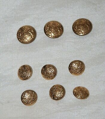Vintage Set of 9 Gold Tone Ornate Embossed Crest Unicorn Shank Buttons 2 sizes