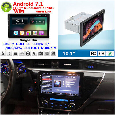 """10.1"""" HD Android 7.1 Single 1 Din Car Stereo Radio Player GPS Wifi Mirror Link"""