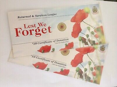 "2 X 2012 RSL Certificate Card $2 Red Poppy ANZAC remembrance Coin ""Cards Only"""