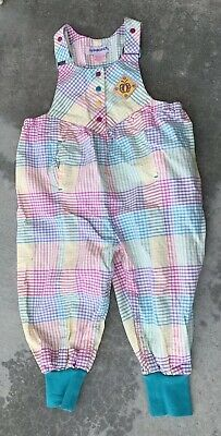 Vintage Gymboree Romper Jumper Overalls Pastel Girls Plaid Pink Yellow Small