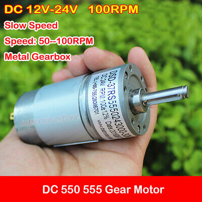 Mini 550 555 Metal Gearbox Gear Motor DC 12V-24V 100RPM Slow Speed Reducer Worm