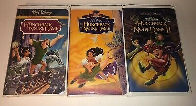 Lot of 3 Disney THE HUNCHBACK OF NOTRE DAME VHS Tapes Clamshell