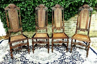 7 X Genuine William & Mary Walnut Cane High Back Chairs For A Nhs Nurses Fund