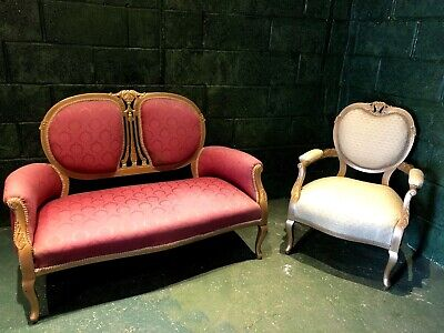 Antique French Louis Sofa and Chair