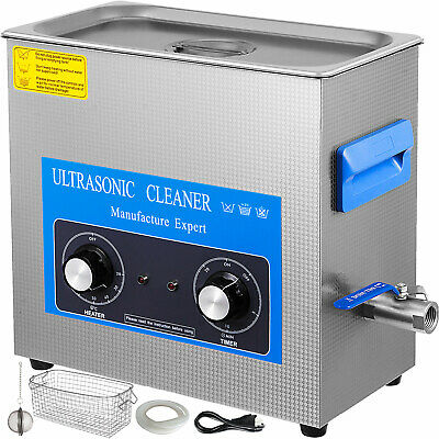 15L Ultrasonic Cleaner with Heater Timer Stainless Steel Tub Basket Solution