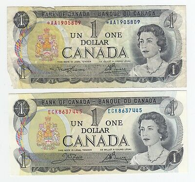 1973 Bank of Canada $1 dollar - Lot of 2 with Replacement Note