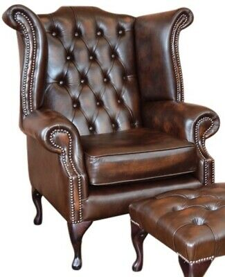 Chesterfield High back Queen Anne Chair Wing Back Armchair Antique Brown