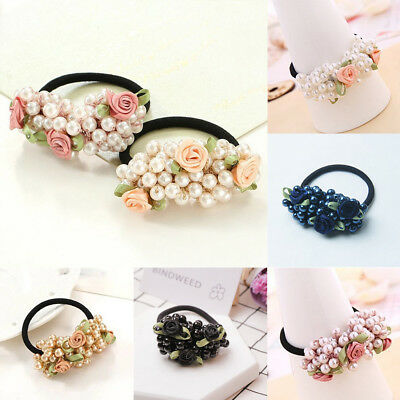 10 Type Unique Girls Hair Beads Pearl Band Rope Elastic Ponytail Tie Acc Gift