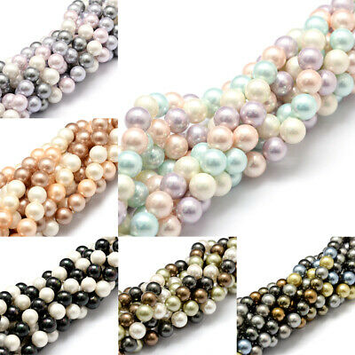 5 Strds Natural Sea Shell Beads Smooth Grade A Loose Pearl Beads Mixed Color 8mm