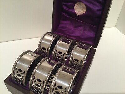 Victorian Cased Set 6 Silver Plate Napkin Rings Retailed by MacKay & Chisholm
