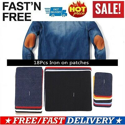 Set of 18Pcs Assorted Iron On Denim Mending Patches Repair Kit for Jeans DIY glb