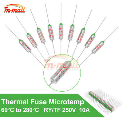 1/5/10PCS 250V 10A Thermal Fuse RY/TF 172/105/240/192°C Microtemp 60°C to 280°C