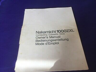 Nakamichi 1000 ZXL Owners Manual