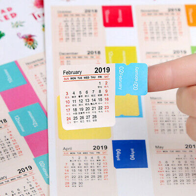2019 Monthly Calendar Index Tabs Stickers Book Note Label Markers PK