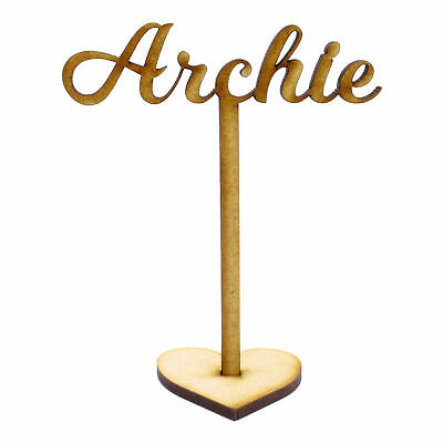 Personalised Wooden Place Names on stick with Heart stand, Weddings Parties