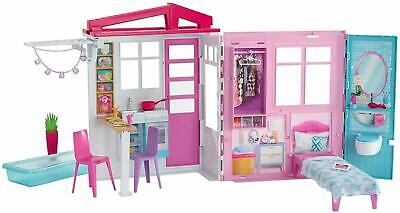 Barbie Dollhouse Playset Foldable Portable Doll House Kids Toys NEW FREE POSTAGE