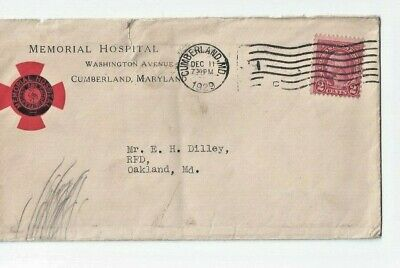 1929 Cancelled Postal Cover from Memorial Hospital, Cumberland, Maryland