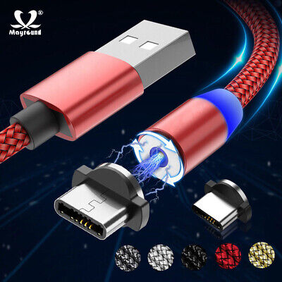 Magnetic Braided LED Magnet USB Type-C Charger Cord For Android Samsung S10 S9+