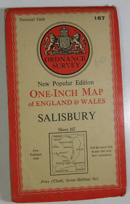 1947 Old OS Ordnance Survey One-inch New Popular Edition CLOTH Map 167 Salisbury