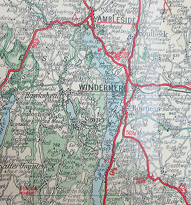 Approx 1940 old vintage Geographia 2 miles to 1 inch road map 2 Lake District