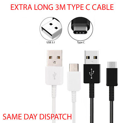 Extra Long 3M USB Data Cable Charger For Samsung Galaxy S10 S10e S9 S8 Plus