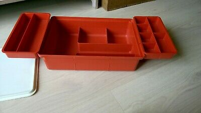 Vintage Tupperware Craft / Hobby / Fishing / Box with Tray & Lid