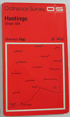 1969 old vintage OS Ordnance Survey one-inch seventh Series Map 184 Hastings