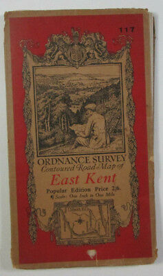 Old Vintage 1920 OS Ordnance Survey One-Inch Popular Edition Map 117 East Kent