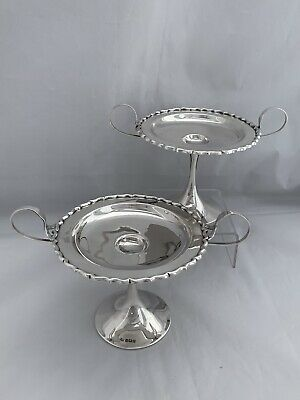 Pair Of Solid Silver Comports Pedestal Bowls 1912 Birmingham Sterling Silver