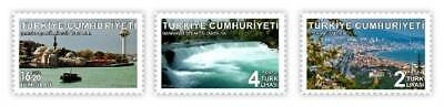 TURKEY/2019 - TOURISM THEMED DEFINITIVE ISSUE (Waterfall, Lighthouse, Boat), MNH