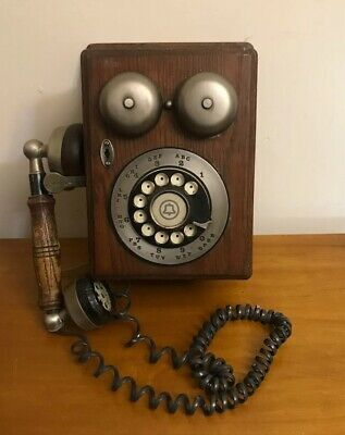 VTG Western Electric Bell Telephone Oak Wood Country Wall Phone Rotary Dial