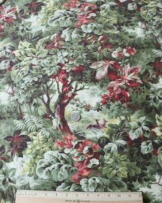 """Antique French 19thC Cotton Printed Forest Scenic Home Dec Fabric~L-216"""" X W-32"""""""