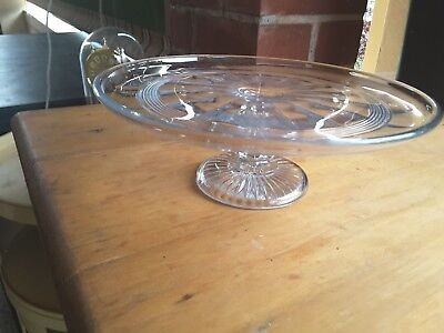 Pedestal  TAZZA CAKE STAND    PRESSED GLASS TAZZA  HIGH TEA..21.5 cms diameter