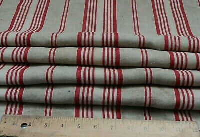 """Antique French Red Striped Linen Ticking Fabric~L-40"""" X W-45"""""""