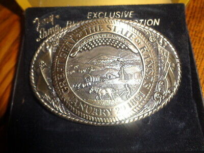 1970's Tony Lama 1st Edition State Seal Brass Belt Buckle Kansas