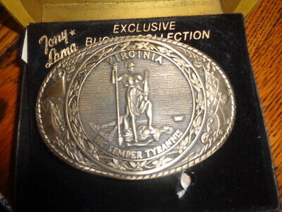 1970's Tony Lama 1st Edition State Seal Brass Belt Buckle Virginia
