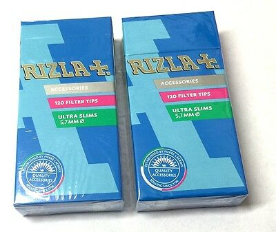 5 x Boxes RIZLA 5.7mm ULTRA SLIM FILTER TIPS CIGARETTE ROLL YOUR OWN Tips SEALED