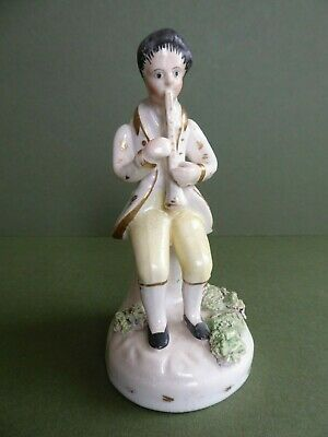 SUPERB Antique EARLY Staffordshire Pottery figurine 'BOY PLAYING HORN' 1820-40