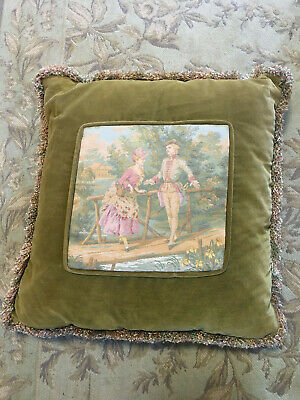 Pretty Vintage Velvet Romantic Scene Cushion One Of Two Available