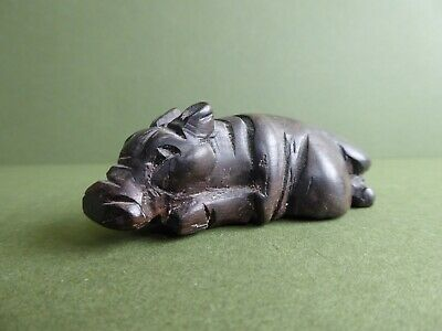 SUPERB Orig Antique HAND CARVED WOODEN African Hippo /Oriental-Chinese Pig c1910