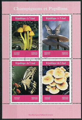 Chad 2019 CTO Mushrooms & Butterflies 4v M/S Butterfly Fungi Nature Stamps