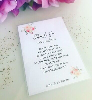 Forget Me Not Seed  Nursery Pre School Teacher TA Thank You Gift Personalised