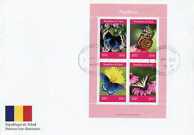 Chad 2019 FDC Mushrooms & Butterflies 4v M/S Cover Butterfly Fungi Nature Stamps
