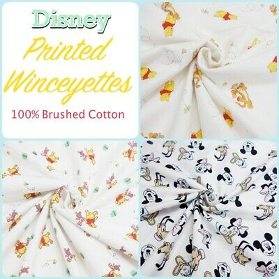 Disney Patterned Brushed Cotton Winceyette Baby + Pyjamas + Quilt +Craft Fabric