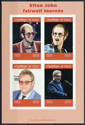 Chad 2019 MNH Elton John 4v IMPF M/S Music Celebrities Famous People Stamps