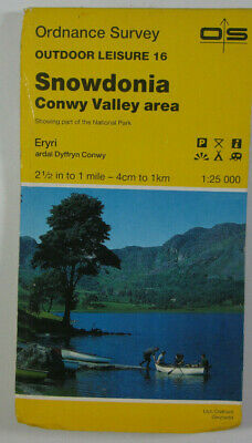 1977 Old OS Ordnance Survey Outdoor Leisure Map 16 Snowdonia Conwy Valley Area