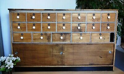 Lovely Very Large Wood Wooden Apothecary Chemists Multiple Drawers Cabinet