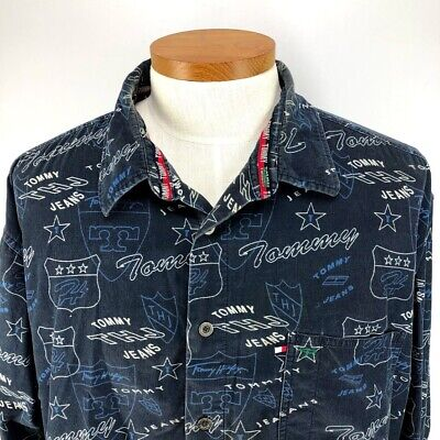 05bfdbab Vintage 90s Tommy Hilfiger Jeans Button Down Long Sleeve Shirt Size XXL