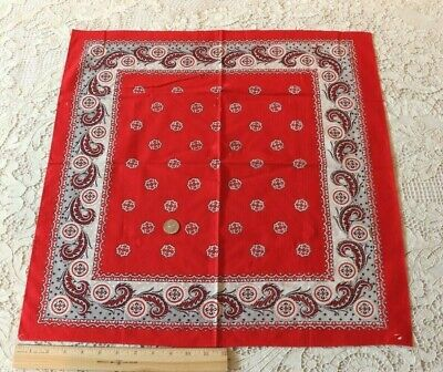 """Antique c1910 French/American Red Cotton Bandana~Old~L-22"""" X W-23"""""""